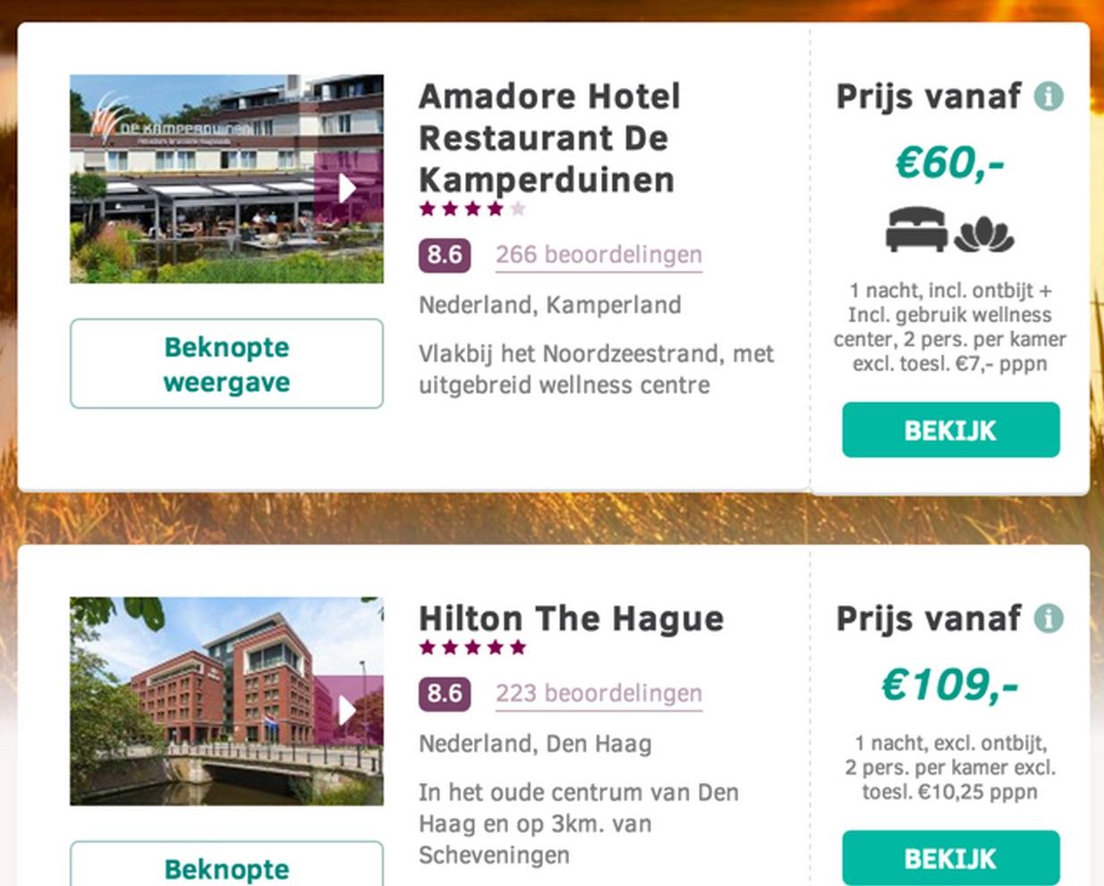 Wanneer je klikt op een afbeelding van het hotel, dan gebeurt er niets. Je krijgt niet meer informatie te zien.