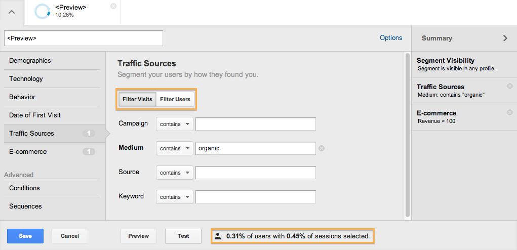 google analytics segment visits