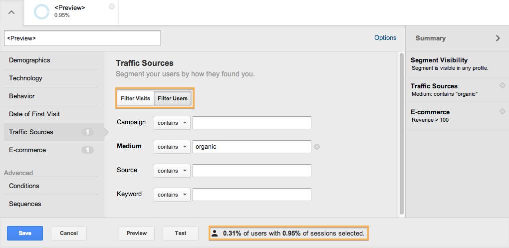 google analytics segment users