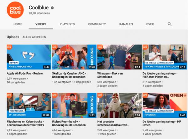 Screenshot Coolblue YouTube