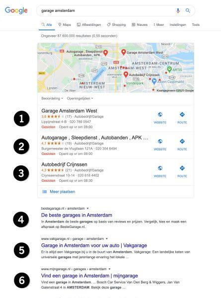 local seo zoekresultaten posities