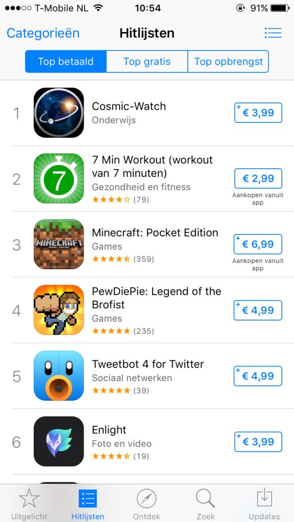 Apple App store hitlijsten op 5 oktober 2015 in NL